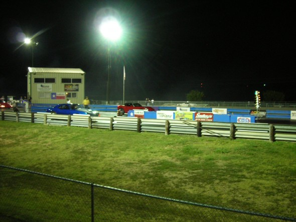 Saturday Night Drag Strip Lights That's Blake in red car