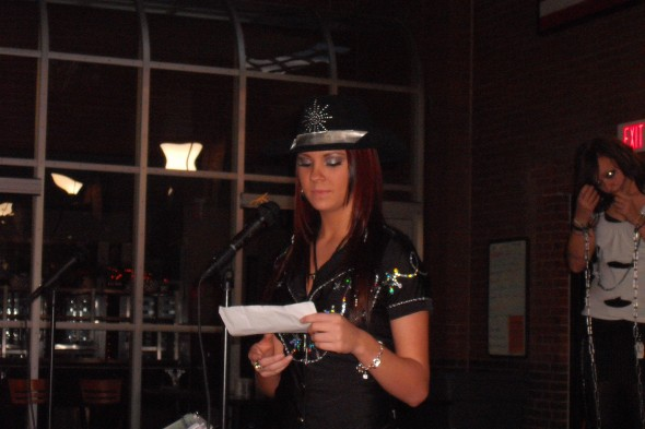 Kelley reading her part for the LDHS Fall Ball