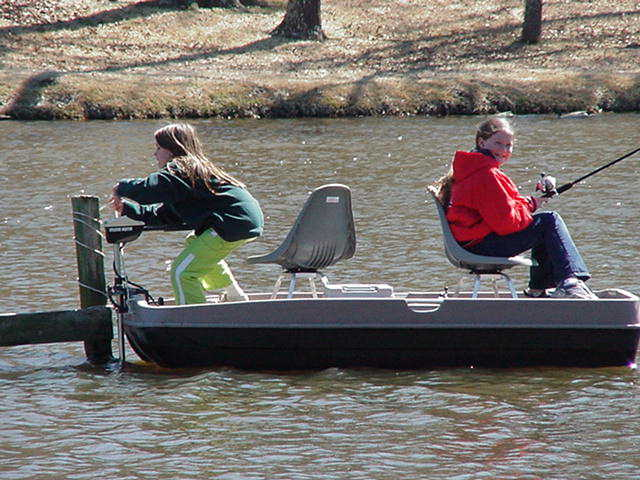 Kelley & Cousin Catherine Fishing At Lake Lydia March 2002